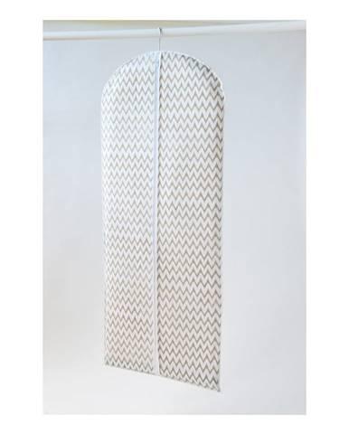 Biely textilný závesný obal na šaty Compactor Clear, dĺžka 137 cm