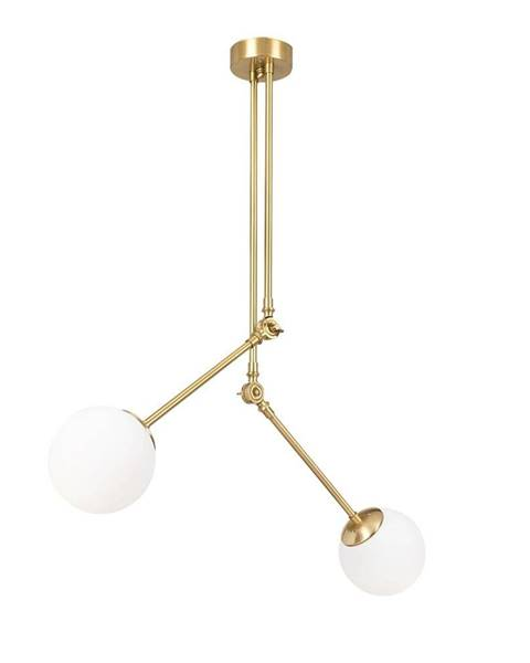 Opviq lights Biele kovové závesné svietidlo v zlatej farbe Opviq lights Anatoli