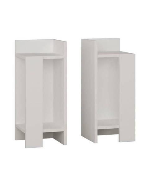 Decortie Sada 2 bielých nočných stolíkov Elos