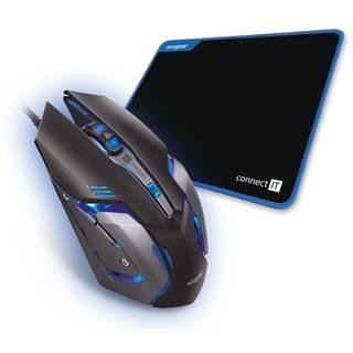 Myš  Connect IT Evogear Plus s podložkou čierna