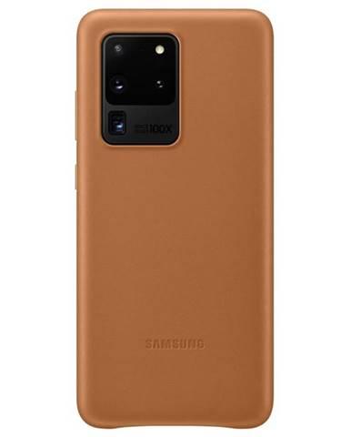 Kryt na mobil Samsung Leather Cover na Galaxy S20 Ultra hnedý