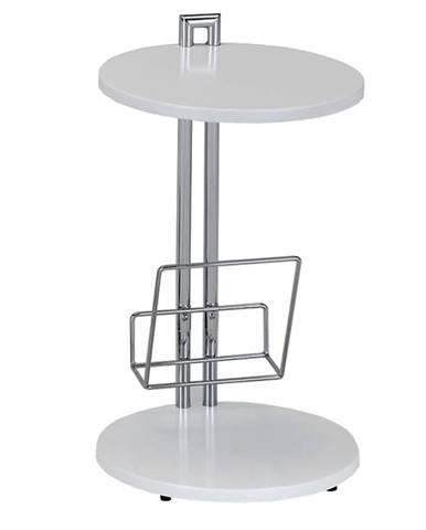 Príručný stolík s držiakom na časopisy biela/chromovaná ANABEL