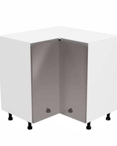 Spodná rohová skrinka biela/sivá extra vysoký lesk AURORA D90N