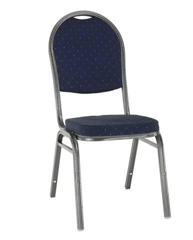 Stolička stohovateľná látka modrá/sivý rám JEFF 2 NEW