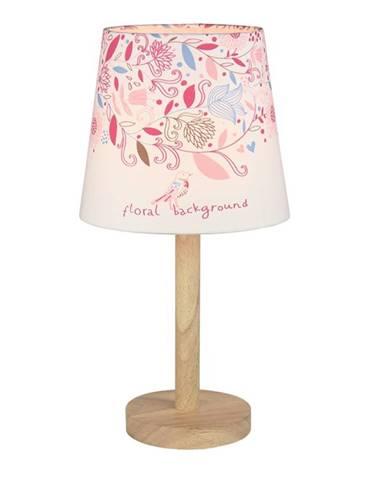 Stolná lampa drevo/látka vzor kvety QENNY TYP 8 LT6026