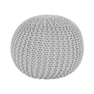 Pletený taburet smotanová (biely melír) bavlna GOBI TYP 2