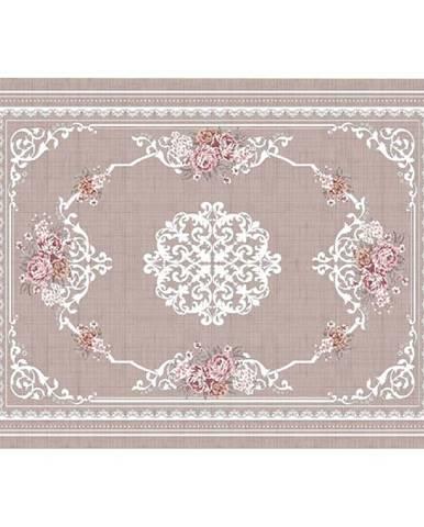 Koberec svetlohnedý/vzor kvety 80x150 SEDEF