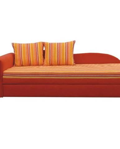 Rozkladacia pohovka oranžová/pásikavý vzor ľavá AGA D