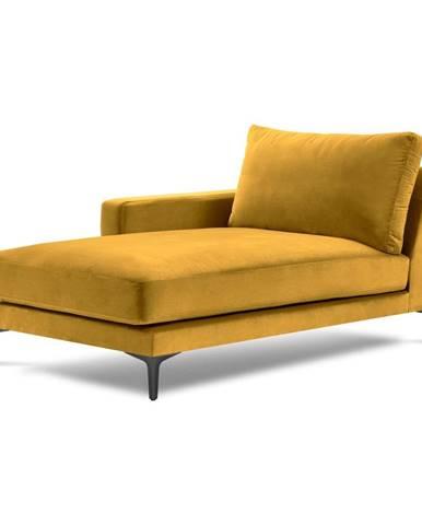 Žltá zamatová leňoška Kooko Home Harmony, ľavý roh