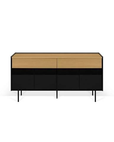Čierny televízny stolík s prvkami v dekore duba TemaHome