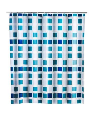 Modrý sprchový záves Wenko Mosaic, 180×200 cm