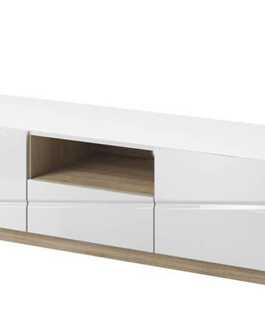 TV stolík FUTURA 03 biela vysoký lesk/dub riviera