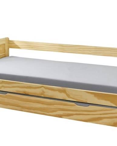 Posteľ s výsuvným lôžkom LAUNIE borovica, 90x200 cm