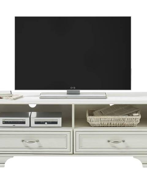 Sconto TV stolík VENEDIG biela/patina