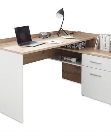 Písací stôl CHILLE dub artisan/matná biela